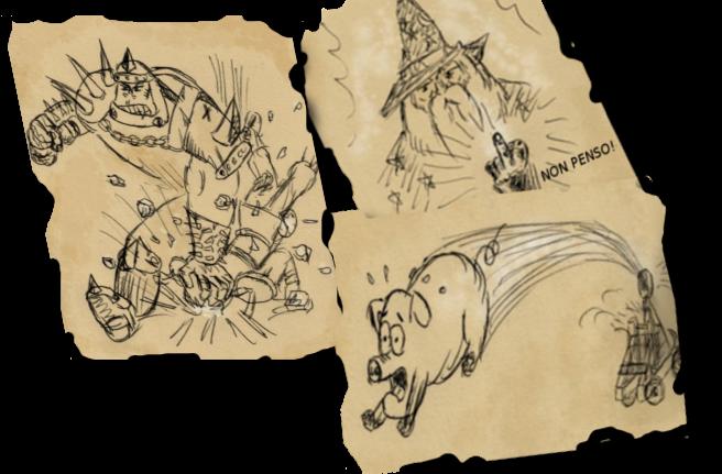 Alcuni dei primissimi schizzi usati per il prototipo di DungeonPig.